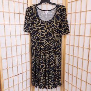 Lularoe Geometric Print Flare Dress Stetch Sz XL